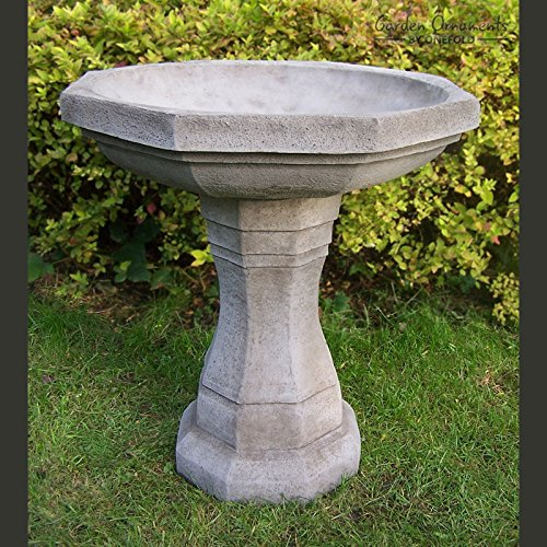 Large Octagonal Bird Bath - Hand Cast Stone Garden Ornament / Feeder