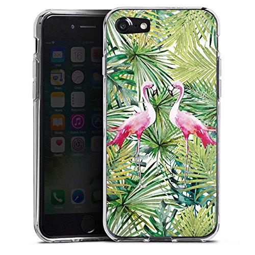 Apple iPhone X Silikon Hülle Case Schutzhülle Flamingo Palmenblätter Sommer Silikon Case transparent