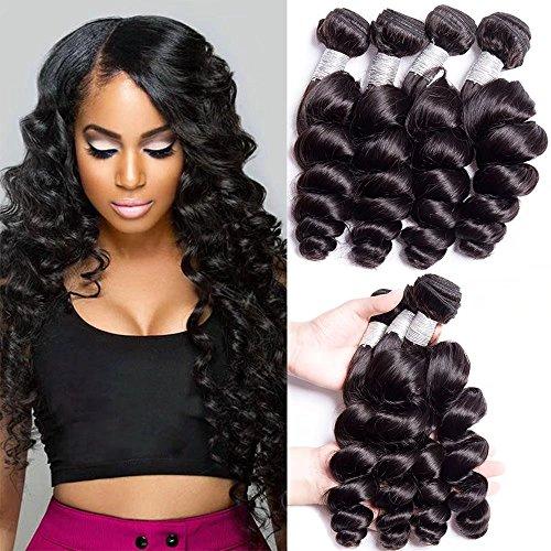 Maxine Hair Grade 10A Malaysian Loose Wave 4 Bundles 22 22 24 24 Inches 400grams Unprocessed Human Hair Extensions Wet and Wavy Human Hair Natural Black -