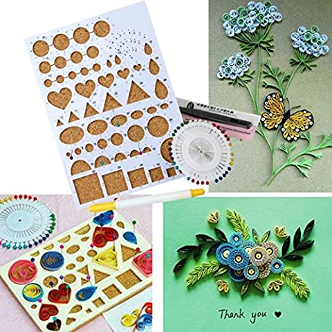 IGEMY Paper DIY Set Quilling Tools Template Mould Board Tweezer Pins Slotted Tool Kit (A)