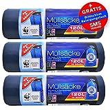 Öko Müllsäcke - Extra Reißfest & Flüssigkeitsdicht - 120 Liter - 3er Pack (3 x 10 Stück) Blauer Engel Zertifikat