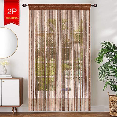 AIZESI 2 Stück Gardinen Deko Fadenvorhang 90x200cm Insektenschutz Faden Türvorhang Trennwand Fenster Vorhang Wohnzimmer(Leichter Kaffee)