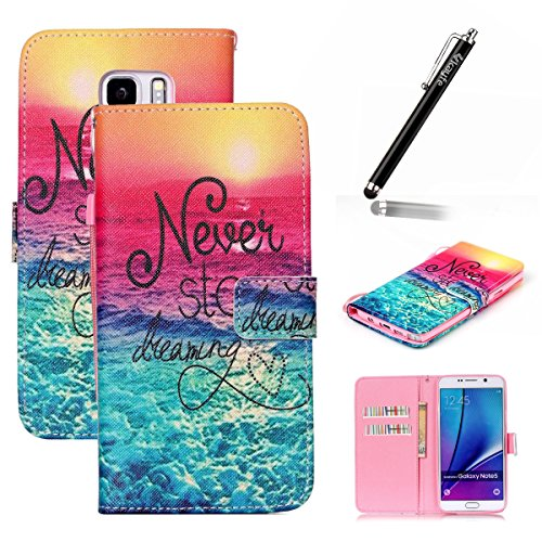 Copertura per Samsung Galaxy Note 5 in pelle, Samsung Galaxy Note 5 Custodia Portafoglio, Note 5 Case Cover, Ukayfe blue Wave-this iphone is locked Design dellunità di elaborazione di vibrazione del rosa blu-Never Stop Dreaming Alba in mare