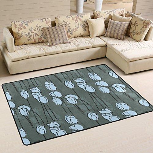 yibaihe leicht bedruckt Bereich Teppich Teppich Deko Zeitgenössische Aqua Blau und Weiß Floral wasserabweisend farbbeständige für Wohnzimmer Schlafzimmer, 91 x 61 cm -