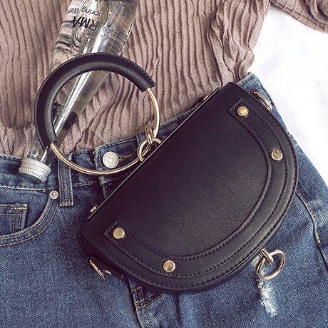 LiZhen lo stesso pacchetto nuovo femmina selvatica elegante anello sella borsa pacchetto estate marea tracolla messenger bag, aggiornare i gusci grigio Mini Pacchetto Black Mini Pacchetto