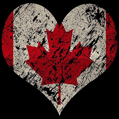 Fashionalarm Herren T-Shirt - I Love Canada | Fun Shirt Trikot mit Vintage Flagge Print für Fußball & Kanada Fans | Nordamerika Urlaub | WM Schwarz