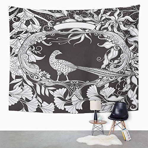 Eriesy Wall Tapestry Antique with Flowers and Bird in Nouveau Style Black and White Graphics Basic Tapestry Wall Hanging Home Decorations Mysterious for Bedroom Home 150x200cm -