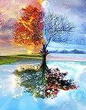 DIY Ölgemälde, Malen nach Zahlen Kit für Erwachsene Kinder Anfänger frameless Four Season Tree of Life