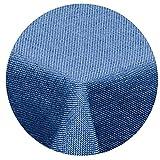 Leinen Optik Tischdecke Rund 180 cm Blau · Rund Farbe wählbar mit Lotus Effekt - Wasserabweisend