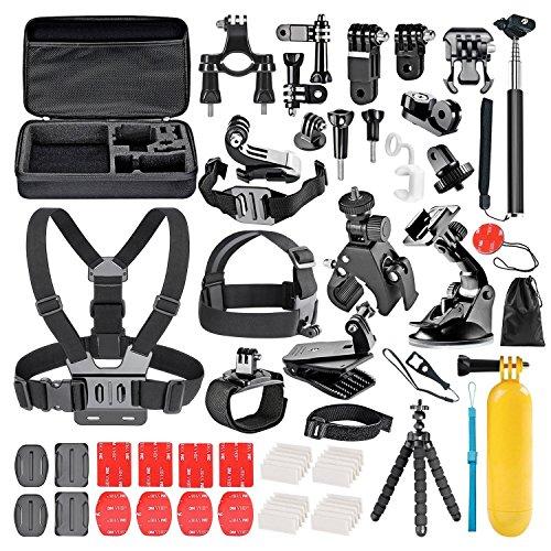 Galleria fotografica Followsun 60-In-1 Sports Action Camera Accessories Kit for GoPro Hero Session/5 Hero 1 2 3 3+ 4 5 SJ4000 SJ7000 DBPOWER AKASO VicTsing APEMAN WiMiUS Rollei QUMOX Lightdow Campark And Sony Sports DV