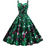 Beishi Women Ladies Sleeveless Vintage Print Midi Dress - St. Patrick's Day Women Shamrock Evening Print Party Prom…