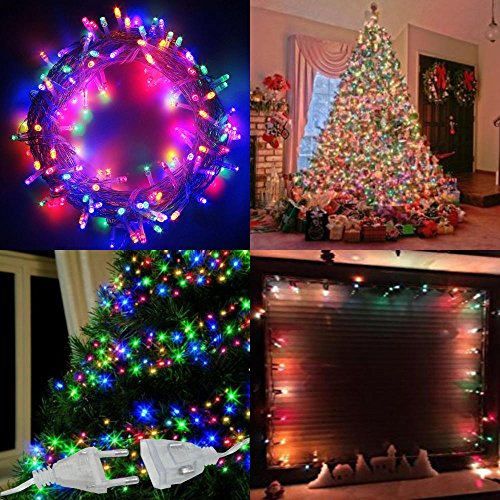 100 LED Lichterkette Weihnachtsbeleuchtung Baumschmuck Dekoration Fenster Party Bunt 4 Farben Blinken 8 Programme/Funktion