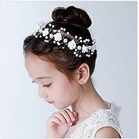 IYOU Fascia per capelli con fiore bianco Diadema di perle Accessori per capelli prima comunione Copricapo da sposa con…