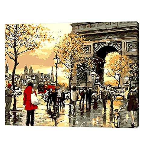 Infashionport Scenery Figure Painting By Numbers DIY Hand-painted Oil Painting Home Art Decor -