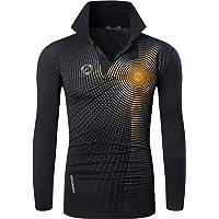 jeansian Tshirt Sportiva da Uomo T-Shirt Tee Shirt Dry Fit Manica Lunga Golf Tennis Bowling LA306 Black M