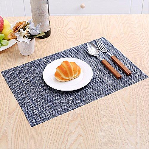 XXSZKAA-Table mats Creative Pure Couleur Table Mat Européenne Vaisselle Mat PVC Isolation Coussin Simple Plat Rectangulaire Repas Tapis Cuisine, Bleu 4 Pièces, 45 * 30 Cm