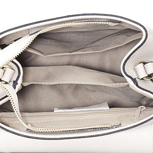 Laura Moretti - Saffiano borsa in pelle con dettagli zip Beige