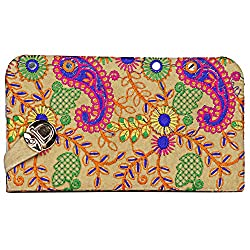 Aadhunik Libaas Womens Multicolor Embroidery Clutch (Beige)