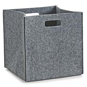 wohnideenshop regalkorb filz in grau 32x32x32cm f r ikea kallax expedit dr na und weitere farben. Black Bedroom Furniture Sets. Home Design Ideas