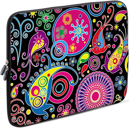 Sidorenko Laptop Tasche für 15 - 15,6 Zoll | Universal Notebooktasche Schutzhülle | Laptoptasche aus Neopren, PC Computer Hülle Sleeve Case Etui, Rosa / Schwarz (Case 15 Laptop Alienware)