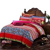 Ustide 3-Piece Colorful Bohemian Duvet Cover Set 100% Cotton Bedding Set 1 Comforter-Cover & 2 Pillowcases King Size