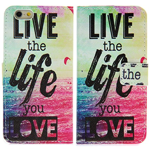 Handy Lux® Schutz Hülle Tasche Kartenfächer Flip Case Etui Cover Involto Motiv Design Hülle BookStyle (Apple iPhone 5 / 5S / SE, Gameboy) Live the Life you love