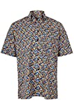 eterna Kurzarm Hemd Comfort Fit mit Button-Down-Kragen Locker Geschnitten Bunt Bedruckt, Grösse:W39. Länge Kurzarm