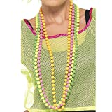 Smiffys Déguisement Femme, Collier de perles, Lot de 4 colliers, Taille unique, Couleurs fluo, 25227