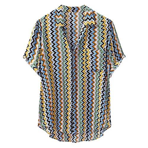 Flag Vorne Womens Tank-tops (VWsiouev Herren Baumwolle Leinen Hawaii Kurzarm Hem Shirt Casual Slim Fit Grafik gedruckt T-Shirt mit Taschen)