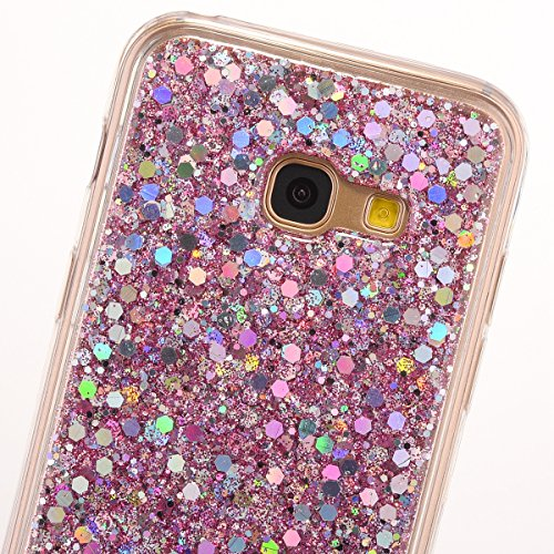 JAWSEU Samsung Galaxy A5 2017 Coque Transparent Glitter,Samsung Galaxy A5 2017 Etui en Silicone Clair avec Pailletee,Brilliante Bling Étoile Perles Soft Tpu Case Cover,Ultra Slim Sparkle Scintillant F rose/gliter