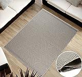 TAPISO Cottage Kollektion | Flachgewebe Teppich Sisal Optik | Muster Geometrisch Karo in Hellgrau| Wohnzimmer Küchen Terrassen Teppiche 140 x 200 cm