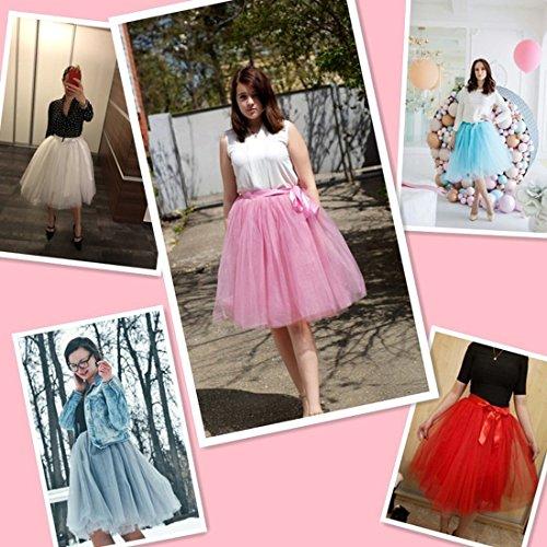 Femmes Tutu Ballet Jupe, 20 pouces en couches Organza dentelle Bubble Puffy une ligne courte et Maxi longueur Tulle Princess Petticoat pour la robe de bal pastèque rouge