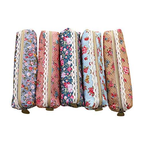 Kosmetik-etui Mini (5X Toruiwa Mäppchen Leinwand Federmäppchen mini Blumen mit Reißverschluss Kosmetik Aufbewahrungstasche Zufällige Farbe)