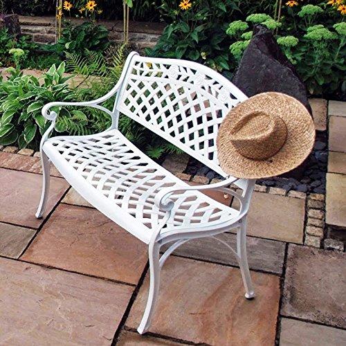 Lazy Susan – ROSE Gartenbank aus Aluminium, Weiß (Blaues Kissen) - 4