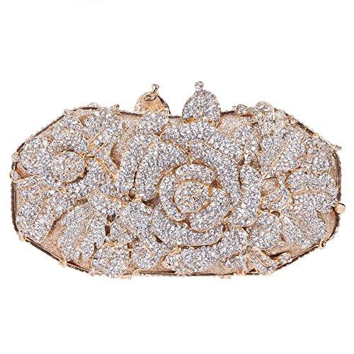 Santimon Clutch Delle Donne Rosa Fiore Borsellini Strass Diamante Cristallo Borse Da Festa di Nozze Sera Con Tracolla Amovibile 5 Colori oro