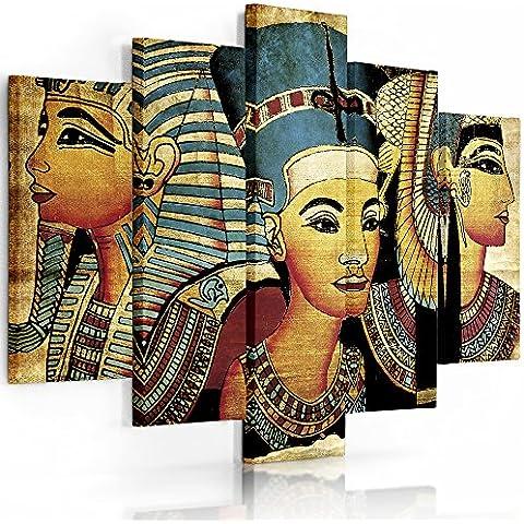 Feeby Frames, Cuadro en lienzo - 5 partes - Cuadro impresión, Cuadro decoración, Canvas Tipo A, 100x150 cm, EGIPTO, NEFERTITI, JEROGLÍFICOS, DIBUJOS, AMARILLO, AZUL