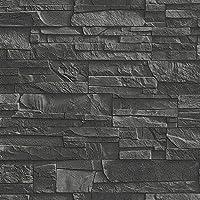 Rasch   Tapete Schiefer Ziegel Muster Stein Künstlicher Effekt Struktur  Tapete   Schwarz 475036