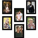 "Amazon Brand - Solimo Set of 6 Photo Frames (5""x7""-6pcs) Black"