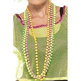 Smiffy's - Perlenkette Neon 80er Jahre 4er Pack Perlen für Damen Kette Nena 80ige