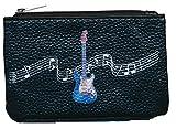 Petit Porte monnaie en cuir porte cles noir Motif Guitare