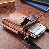 Hengying Leder Mini Kleine Umhängetasche Gürteltasche Handy Tasche mit Viele Fächer Passt für Galaxy S8 Plus iPhone 6S Plus 7 Plus (Braun) - 6