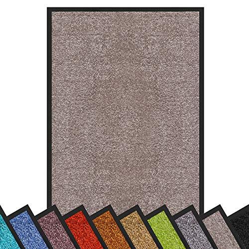 Schmutzfangmatte Rhine   schadstoffgeprüft   waschbare & extra leistungsstarke Fußmatte   Sauberlaufmatte mit Rutschfester Rückseite   Türmatte in vielen Größen & Farben (90x120 cm, Hellgrau)