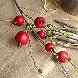 Yazidan Unechte Blumen,Gefälschte künstliche Rose Obst Granatapfel Beeren Bouquet Floral Garden Home Decor-Künstliche Deko Blumen Gefälschte Blumen Seiden Plastik für Haus Garten Party Blumenschmuck