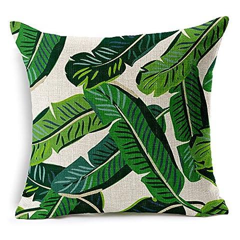 Coolsummer Housse de coussin en lin carrée Motifs feuilles vertes 45x45cm