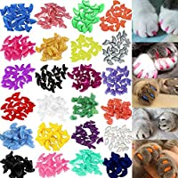 VICTHY 140pcs Cat Nail Caps, Colorful Pet Cat Soft Claws Nail Covers for Cat Claws with Glue and Applicators Extra Small Size