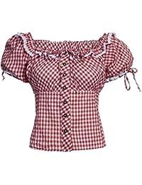 Bongossi-Trade Trachtenbluse Dirndl Bluse Carmenbluse kariert in verschiedenen Farben