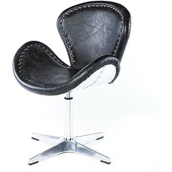 Phoenixarts Echtleder Vintage Ledersessel Schwarz Design Sessel Loft  Drehsessel Lounge Clubsessel Möbel 637
