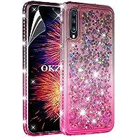OKZone Funda para Samsung Galaxy A70, [Arenas Movedizas] Liquida Moda Flowing Diseño Diamante Creativo Arenas Movedizas TPU Silicona Fundas Carcasas (Negro Rosa)