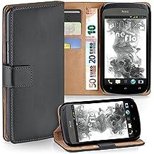Cover OneFlow per HTC One S Custodia con scomparti documenti | Flip Case Astuccio Cover per cellulare apribile | Custodia cellulare Cover rotettiva Accessori Cellulare protezione Paraurti ANTHRACITE-GREY