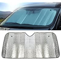 hosaire Car Front Windscreen Parasol Excellent UV Sun and Heat Reflector Easy to Use Sun shade-silver (140* 70cm)